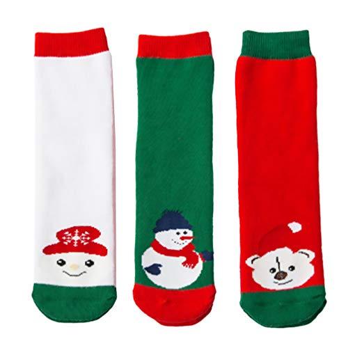 Amosfun 3 paar kerstsokken, uniseks babysokken, kindersokken, kerstmotief, katoenen sokken, winterbedsokken, huissokken, sneeuwpop, katoenen sokken voor meisjes en jongens