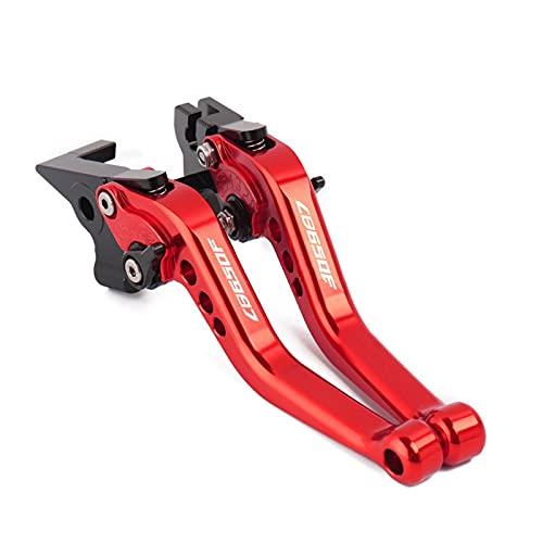 Conjunto Palanca de Embrague y Freno Palancas De Embrague De Freno Ajustables Cortas De Aluminio CNC para Motocicleta Accesorios 1 Par De Piezas para Cbr650f Cb650f 2014 2015 2016 2017 (Color : Red)