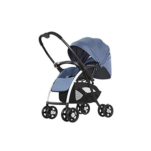 MOMOJA Foldable Baby Stroller Pushchairs 5 Point Harness Max Capacity 25kg (Blue) MOMOJA Easy folding - this pushchair is as easy to fold away as possible - the comfort stroller can be folded with one hand only within seconds, leaving one hand always free for your little ray of sunshine. Long use - this buggy can be used for a very long time; it is suitable From birth (also compatible with 2-in-1 carrycot or comfort fix infant car seat) up to a maximum of 25 kg. Comfortable - backfriendly push handle adjustable in height; backrest and footrest are multi-adjustable, the hood extendable; in addition, the pushchair comes with suspension, swiveling front wheels, soft padding and large shopping basket. 1