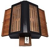 Wmxcz Caja de cigarros Gran Cedro de Almacenamiento de la Compra Muy móvil del Coche de Caja de Cristal Superior cigarro Meseta de cigarros escaparate Pro (Negro),Negro