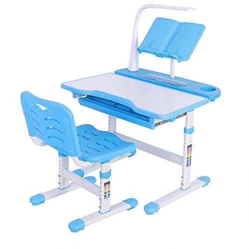 EBTOOLS Schreibtisch mit Stuhl und Lampe für Kinder, ergonomisches Tischset und Stuhl, für Kinder, höhenverstellbar, Tischplatte neigbar, zum Lernen, Zeichnen und Spaß, Blau