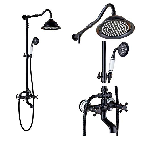 Rozin Oil Rubbed Bronze Bathroom Shower Faucet Set 8 Inch Shower Head + Hand Spray