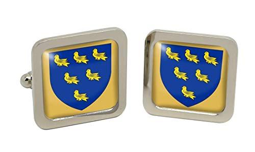 Family Crests Sussex County Hommes Boutons avec Boîte Cadeau Chrome