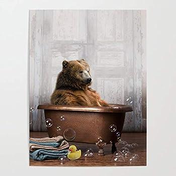yyone Funny Words PaintingsWrappedCanvas Bear with Rubber Ducky in Vintage Bathtub On Canvas Modern Wall Art Decor Wooden Framed 16  X 20