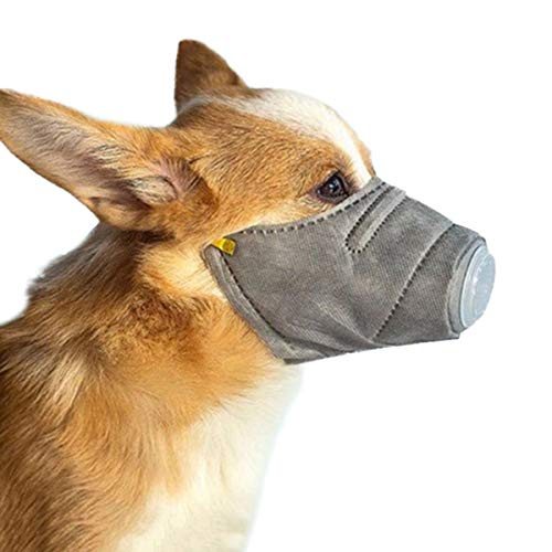 CiKiXZ Mascarilla Perro Antipolvo Protector Bucal para Mascota Bozal Perro Ajustable Mascarilla para Mascota Transpirable para Perro Pequeño (Gris, S)