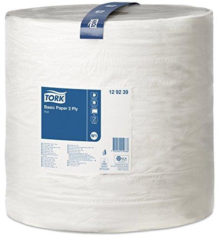 Tork 129239 Standard Papierwischtücher für W1 Bodenständer- und Wandhalter-System / 2-lagige, stabile Papiertücher in Weiß / Universal Qualität / 1 x 680 m
