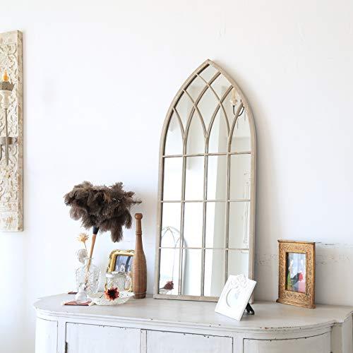 Espejo de pared con marco de metal en acabado rústico beige envejecido (50,8 cm de ancho x 114,3 cm)