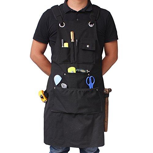 benail Robuster Arbeit Schürze Wasserdicht aus robusten gewachstem Canvas mit Taschen und verstellbare Riemen bis XXL für Männer & Frauen (schwarz)