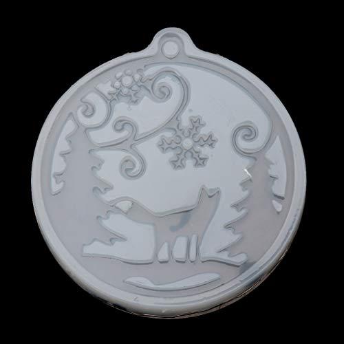 KunmniZ Espejo UV epoxi joyería colgante molde aullando nieve zorro Navidad copo de nieve, para Pascua
