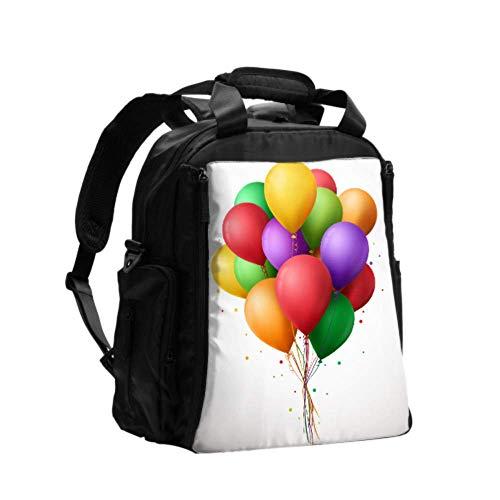 Ausgefallene Wickeltasche Rucksack 3d realistische bunte Bündel Geburtstagsballons Stillrucksack Wickeltasche Multifunktions-Reiserucksack mit Windel Wickelunterlage für Babypflege