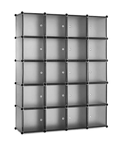 Meerveil Armadio modulare cubi componibili in plastica, Guardaroba Modulare Organizer con Appendiabiti, Portaoggetti Grigio 20 cubi