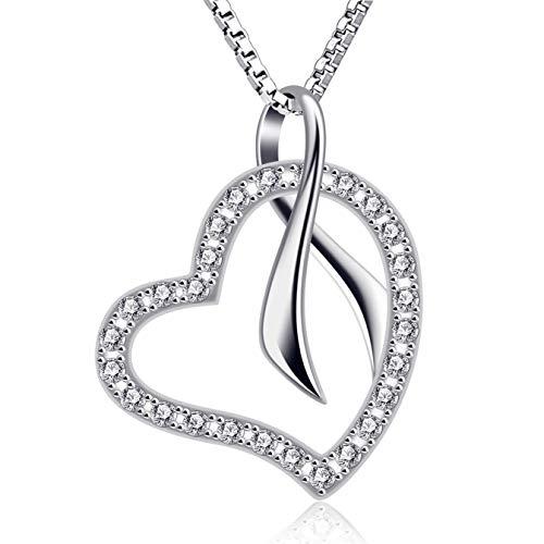 B.Catcher Mujer Collar corazón Colgante 925 Plata Ecos de Amor con San Valentín Regalo Originales Cadena 45cm Longitud