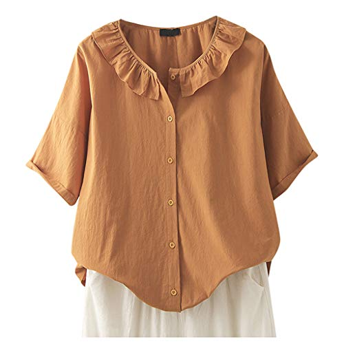 TOWAKM Damen Bluse V-Ausschnit Langarm Shirt Leinen Einfarbig Lässige Lose Tunika Tops T-Shirt Hemdbluse Große Größen(Orange,M)