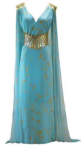 Game of Thrones Daenerys Targaryen Style Costume Blue Chiffon Khaleesi Dress for Women (Large)
