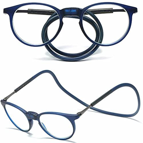 YSDQ Gafas de Lectura magnticas Cuelgue el Cuello Bloqueo de luz Azul Lectores Lentes livianos con Diadema de Silicona Suave de Brazos Ajustables, para Hombres Mujeres