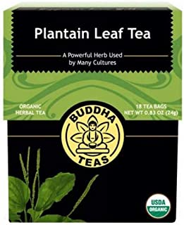 Organic Plantain Leaf, 18 Bleach-Free Tea Bags – Contains Essential Vitamins and Minerals, Antibacterial, Anti-inflammatory, Antiseptic, No GMOs, Caffeine-Free