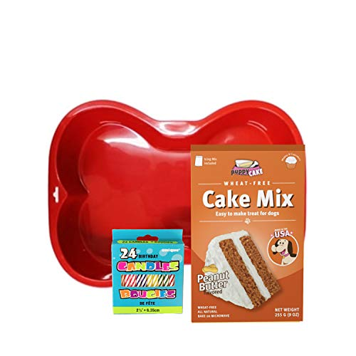 Dog Birthday Cake Kit | Puppy Cake Peanut Butter Dog Cake Mix and Frosting | Silicone Bone Birthday Cake Pan | Birthday Candles