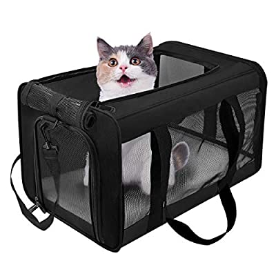 VIEFIN Pet Carrier for Small Medium Cats Dogs,Airline Approved Small Dogs Carrier Collapsible Medium Cat Carriers Soft-Sided, Portable Pet Travel Carrier for 13 lbs Cats Dogs Puppies Kitten(Black)