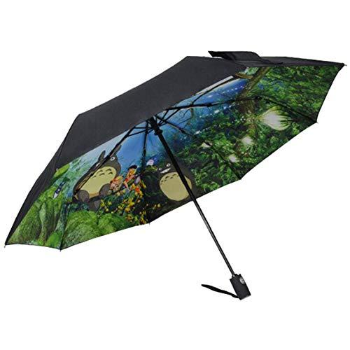 GoodWell Komplett Automatisch Cartoon Anime Regenschirm Faltbarer Doppelschicht Winddicht Kompakt Faltbar Regenschirm Kreatives Design Kunst Anti-UV Ultraleicht Leicht Unisexe,Schwarz