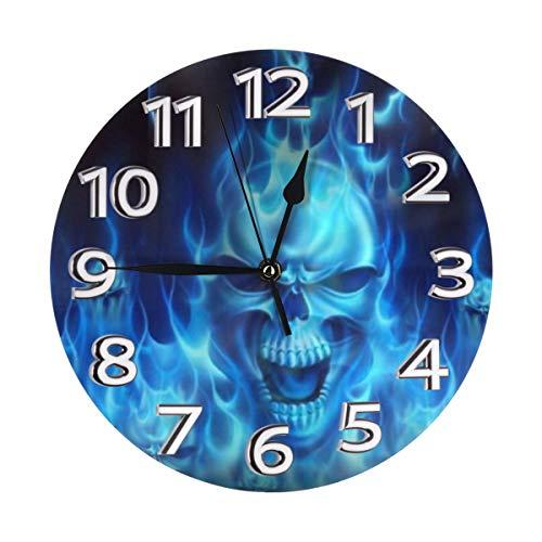 AIZENN Wanduhr mit Totenkopf-Motiv, blaue Flamme, geräuschlos, tickt nicht, hochwertige Quarz-Wanduhr – 25,4 cm, rund, leicht zu lesen, dekorativ für Zuhause, Büro, Schule