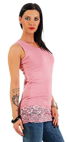 Mellice Damen Longshirt Long Top mit Spitze - FX040, Gr.- 40-42 EU/ L-XL, Rosa