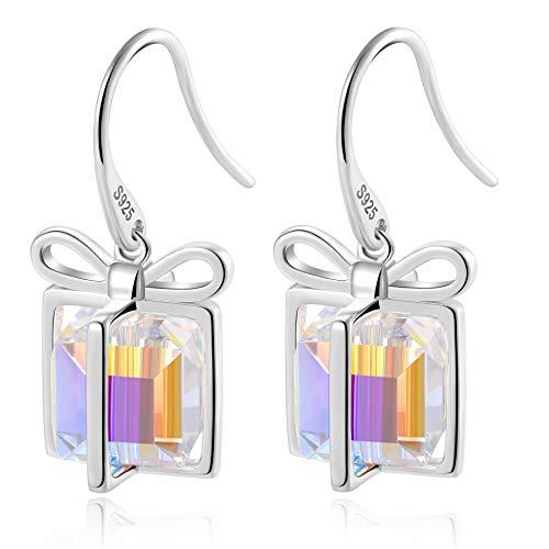 SISMIURRA Pendientes de cristales de Swarovski para mujer S925 Pendientes colgantes de plata esterlina de moda Pendientes colgantes Regalo de cumpleaños del día de las madres(Multicolor)
