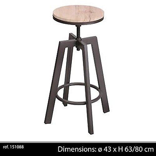 LIFE DECO Tabouret Chaise DE Bar Ajustable en Hauteur Design RÉGLABLE LOFT Industriel Contemporain Bois Metal