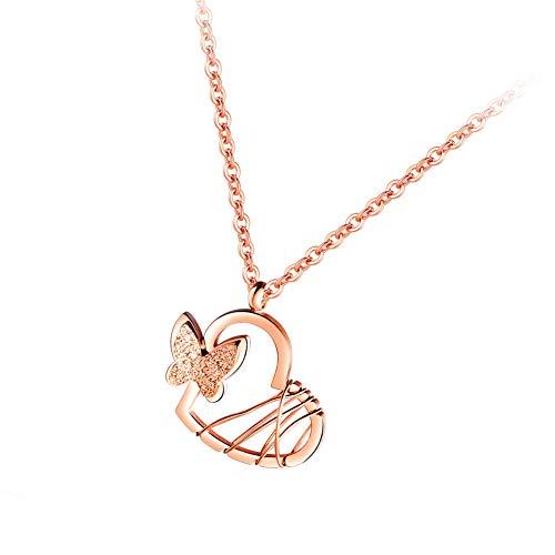 Vioness - Collar con colgante para mujer y niña, de acero, diseño de corazón hueco, mariposa...