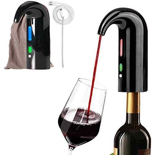 PDXGZ Aeratore per Vino Elettrico Luxury Wine Decanter Portatile Versatore Portatile, con Tubo in Acciaio Inox a Scomparsa, Adatto per la Maggior Parte delle bocche di Bottiglia,Nero