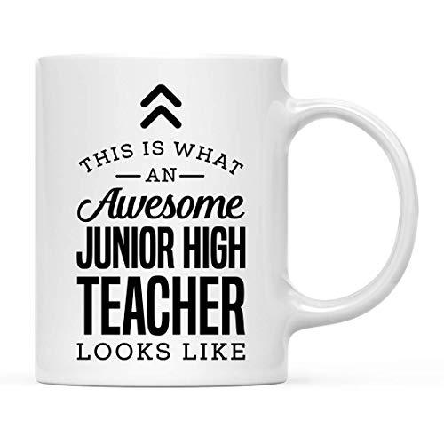 Taza de té de cerámica de 300 ml, con texto en inglés 'This is What awesome Junior High Teacher Looks Like', 1 unidad, regalo de cumpleaños ideal para coworker Him Her, incluye caja de regalo