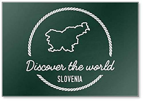 Republiek Slovenië Kaart op een Groene Blackboard. Grunge Rubber Seal Illustration Koelkast Magneet