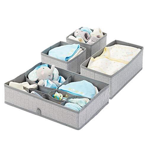 mDesign 4er-Set Kinderzimmer Aufbewahrungsbox aus Polypropylen – Stoff Aufbewahrungsboxen für Babysachen – auch als Kinderschrank Organizer oder für Schubladen – grau