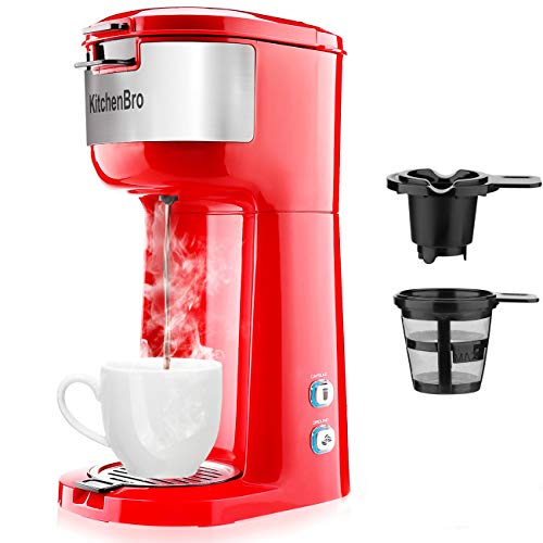Single Serve Coffee Maker for K-Cup Pod & Ground Coffee, Small Size Coffee Machine,Fast brewing,Strength Control and Self Cleaning Function by KitchenBro (Red)