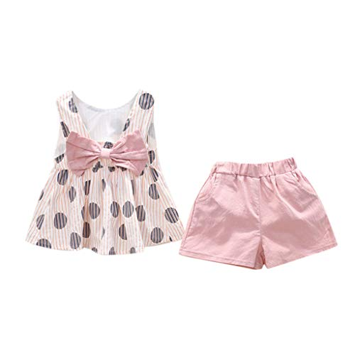 Julhold Peuter Kind Baby Meisje Mode Leuke Casual Kleding Kleding Bruin stip Print Roze Boog Mode T-Shirt Vest + Roze Shorts Pak om De Baby mooier te maken voor 1-7 Jaar Oud