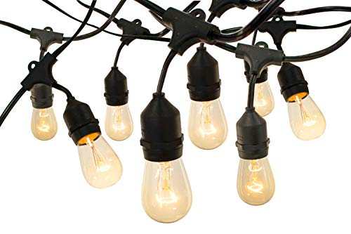 EST. LEE DISPLAY L D 1902 Outdoor String Lights Hanging Black Cord Vintage Edison Light Bulbs Waterproof Dimmable Lamps Canopy Patio Lawn String Lighting (50, 18IN)