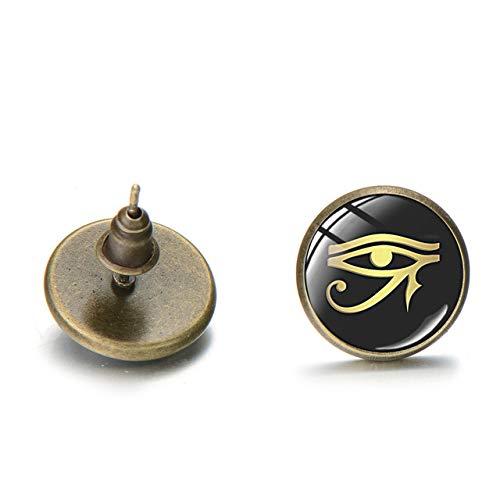 Patrón De Novedad Dios Antiguo Ojo De Horus Pendiente De Oreja Gótico Egipto Tribal Oro Wedjat Ojo De Cristal Gema Pendientes Talismán Joyería