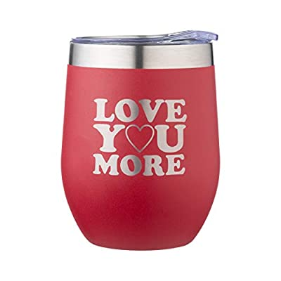 Happy Valentine's Day Mug -I Love You More Mug -Double engraving 12 oz Wine Tumbler for Her and Him -Gifts for Wife, Husband, Girlfriend, Boyfriend -Mother's Day, Christmas, Anniversary -Couple Gifts