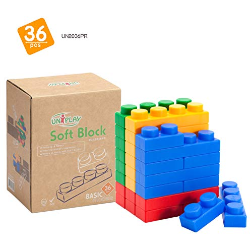 UNiPLAY Basic Soft Building Blocks — Cognitive Development Toy, Educational Blocks, Interactive Sensory Chew Toy for Ages 3 Months and Up (36-Piece Set)