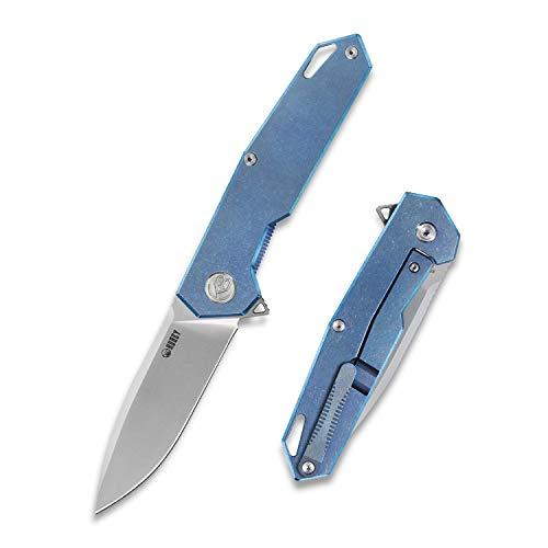 KUBEY KU046 EDC Titan Klappmesser | Extra Scharf Taschenmesser | Einhandmesser aus AUS-10 Edelstahlklinge | Outdoor & Survival Messer, 9,5 cm Klinge (Bronze)