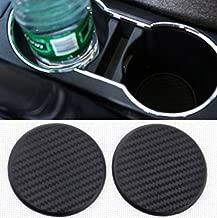 TRUE LINE Automotive Black Carbon Fiber Car Cup Holder Insert Pad