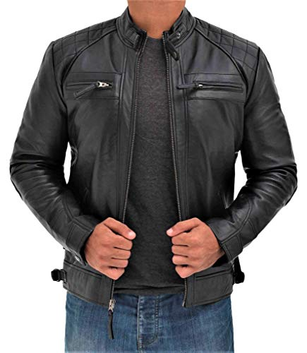 BlingSoul Quilted Black Leather Jacket for Men | [1100093] Johnson, M