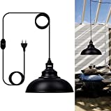 Hängelampe mit Stecker Outdoor/Innen Vintage Dimmbar Pendelleuchte Metall Lampenschirm und 4.5m Kabel Pendellampe für Steckdose zur Beleuchtung im Außenbereich wie Esstisch, Garten oder Terrasse
