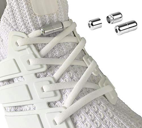 Laceton Elastische Schnürsenkel | Schnellschnürsystem mit hochwertigem Metall Lock-Verschluss - Stylischer Komfort und starker Halt | Schnürsenkel-Set, Nie mehr Schuhe binden (Weiß)