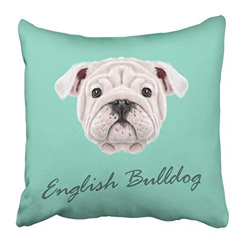 Fundas de Almohada Dibujo Retrato Bulldog inglés Cachorro Lindo Mullido Cara Blanca Perro doméstico en Azul Animal bebé 40X40 Cm