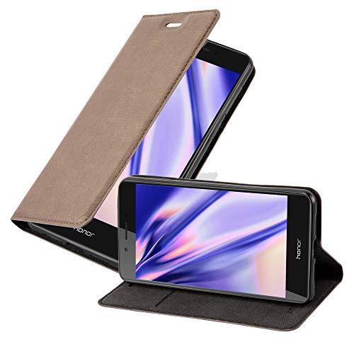 Cadorabo Hülle für Honor 6C - Hülle in Kaffee BRAUN – Handyhülle mit Magnetverschluss, Standfunktion & Kartenfach - Hülle Cover Schutzhülle Etui Tasche Book Klapp Style