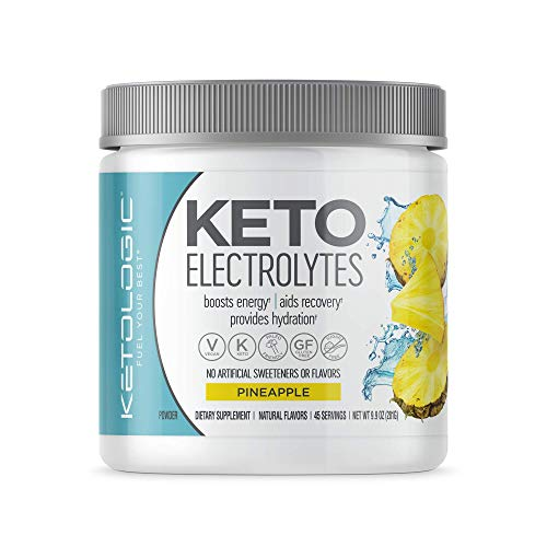 KetoLogic Keto Electrolyte Powder: Sugar Free Electrolyte Supplement for Rapid Hydration, Recovery, Cramps & Energy Boost   NO Carbs, NO Calories, NO Artificial Sweeteners   45 Serve (Pineapple)