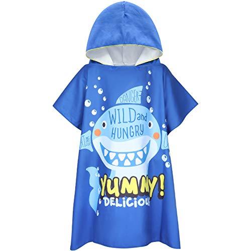 Tacobear Poncho Asciugamano per Bambini Telo Mare con Cappuccio per Spiaggia Poncho da Bagno in Microfibra Cartone Animato Piscina Doccia per Ragazzi Ragazze(Blu-squalo)
