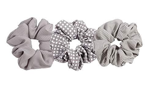 A.Tony Scrunchies Set 4 Farben Haargummis Mädchen & Frauen Chiffon Zopfgummi Haarschmuck Muster Hochwertig Haarband (Grau)