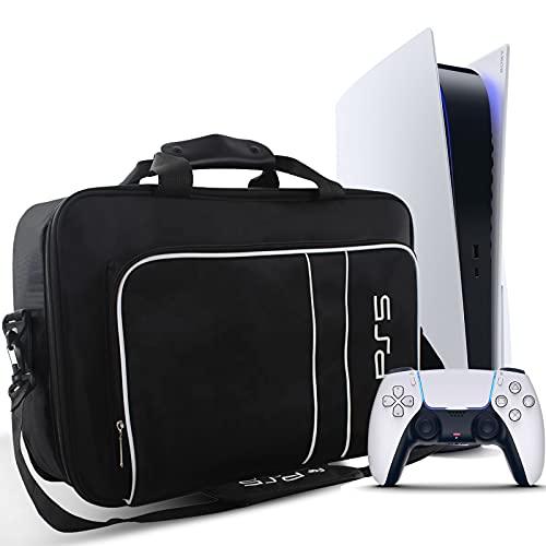 Funda Transporte para PS5, Bolsa Transporte para PlayStation 5 Console Disk/Digital Edition y Mando, Estuche Transporte Protector para PS5, Mando, Tarjetas de Juego, HDMI Cable y los Accesorios