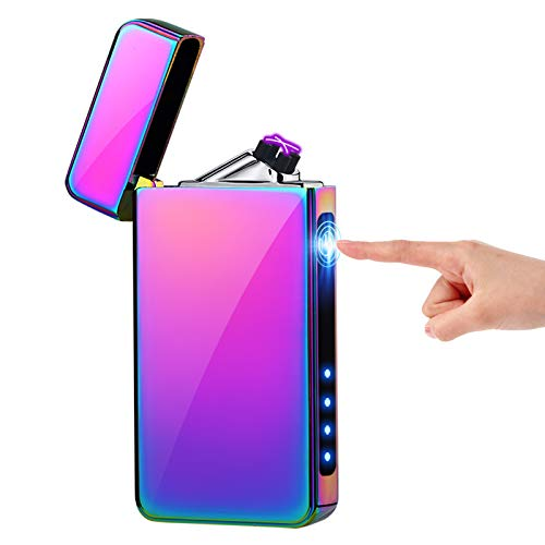 KIMILAR Mechero Eléctrico, Encendedor Eléctrico USB Recargable Doble Arco A Prueba de Viento Sensor Tactil Sin Llama para Cigarrillos Velas Cocina [Caja de Regalo] (Hielo Colorido)